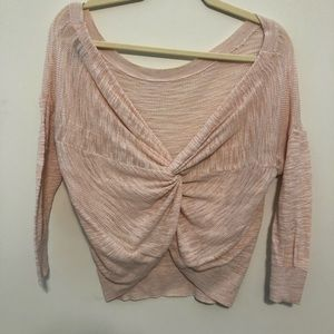 Light pink cross back sweater